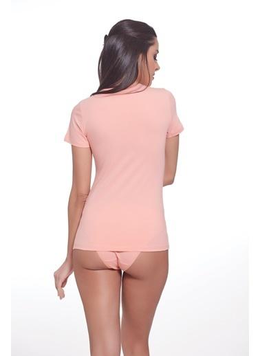 Sevim Renkli T-Shirt Somon